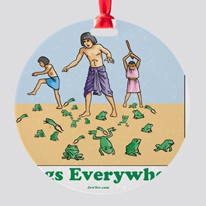 Frogs Everywhere flat Round Ornament